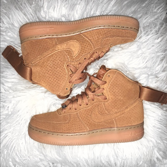 Details about Nike Air Force 1 Hi Top Tawny Brown Suede Shoes 749266 201 Womens 7.5